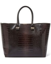 Victoria Beckham Grey Liberty Crocodile Embossed Leather Tote Bag - Gray