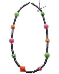 Scenery Label Bead Necklace Watermelon - Multicolor