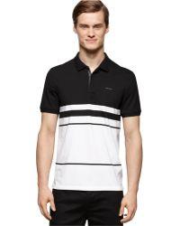 Calvin Klein Blocked-Stripe Polo black - Lyst
