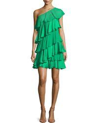 Halston Heritage One-shoulder Tiered Ruffle Dress - Lyst
