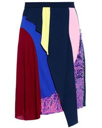 Peter Pilotto Colour-Block Sequin-Embellished Skirt - Lyst