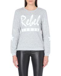 Zoe Karssen Rebel Cottonblend Sweatshirt Grey - Lyst