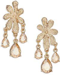 Oscar de la Renta | Lace Crystal Clip-on Chandelier Earrings | Lyst