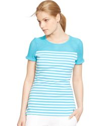 Lauren by Ralph Lauren Striped Mesh-Yoke Top - Lyst