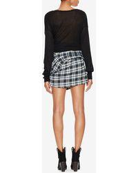 Faith Connexion Sleeve Tie Plaid Mini Skirt - Grey