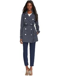 Lauren by Ralph Lauren Striped Double-Breasted Trench Coat - Lyst