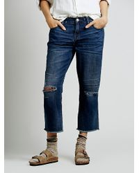 Free People Low Slung Destroyed Boyfriend - Lyst