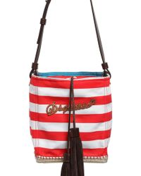 DSquared² Espadrille Striped Canvas Bucket Bag - Red