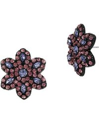 Betsey Johnson Panther Floral Stud Earrings - Purple