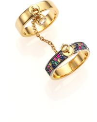 Elizabeth And James Margaux Multicolor Sapphire Double-Band Chain Ring - Lyst