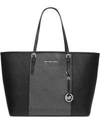 MICHAEL Michael Kors Leather Medium Microstud Stripe Medium Tote Bag - Lyst