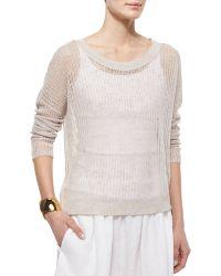 Eileen Fisher Long-Sleeve Organic Open-Stitch Knit Top - Lyst