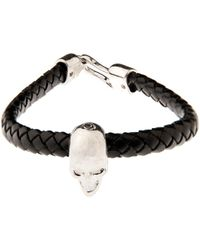Alexander McQueen Woven Leather and Skull Bracelet - Lyst