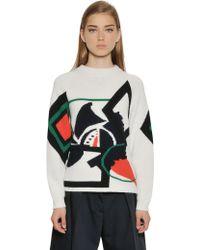 Jil Sander Navy Intarsia Wool & Cotton Sweater - Lyst