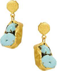 Kasturjewels - 22kt Gold Plated Brass Rough Cut Semiprecious Stone Drop Earrings - Lyst