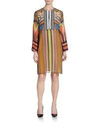 Etro Printed Silk Shift Dress - Lyst
