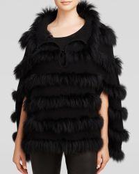 Grayse Fox Fur Trimmed Wool Poncho - Lyst
