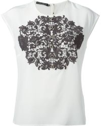 Dolce & Gabbana Jewel Button Lace Top - Lyst