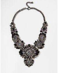 Little Mistress Statement Flower Necklace - Black