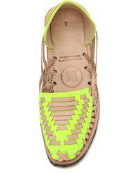 Ix Style - Woven Leather Huarache Flats - Yellow Neon - Lyst