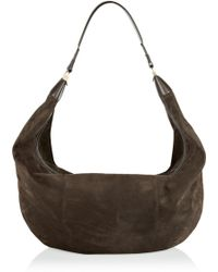 The Row Sling Leathertrimmed Suede Shoulder Bag - Brown