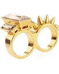 Alexander McQueen Crystalstud Twofinger Ring - Lyst