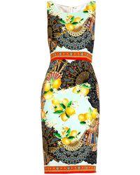 Dolce & Gabbana Fan & Lemon Silk Print Dress blue - Lyst