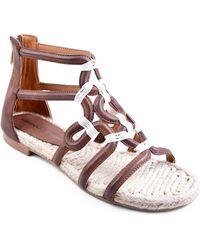 Adrienne Vittadini Pablic Leather Sandals - Brown