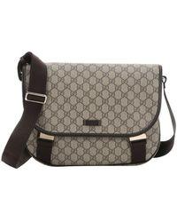 Gucci Beige And Ebony Gg Coated Canvas Medium Messenger Bag beige - Lyst