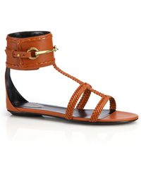 Gucci Ursula Horsebit Braided Flat Sandals orange - Lyst