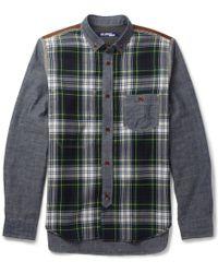 Junya Watanabe Patchwork Cotton and Check Wool Shirt - Lyst