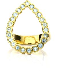 Lestie Lee Pear Halo Ring Topaz - Blue