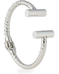 Lydell NYC - Silvertone Open Hinged Cuff Bracelet - Lyst
