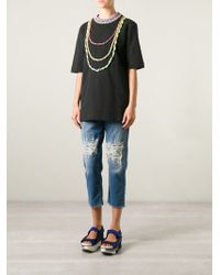 Love Moschino Distressed Cropped Jeans - Lyst