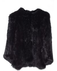 Yves Salomon Knitted Fur Jacket Noir - Lyst