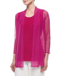 Caroline Rose 3/4-Sleeve Illusion Cardigan pink - Lyst