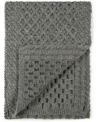 Sunspel - Lambswool Cellular Knit Scarf In Mid Grey Melange - Lyst