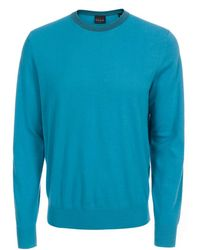 Paul Smith | Men's Petrol Blue Cotton Sweater With Striped Collar | Lyst