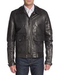 Roberto Cavalli Croc-embossed Leather Jacket - Lyst