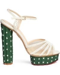 Charlotte Olympia 'Cactus' Crystal Corrugated Platform Suede Sandals - Lyst