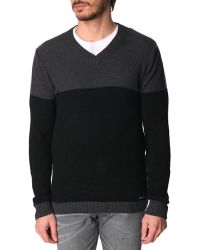 Diesel Grumato Black And Grey Two-Tone Sweater - Lyst