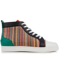 Christian Louboutin Luis Woven-Leather High-Top Sneakers - Lyst