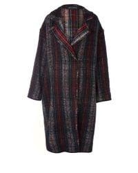Ter Et Bantine - Red Check Oversize Wool Blend Coat - Lyst