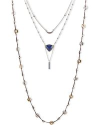 Lucky Brand Two-tone Semi-precious Rock Crystal Layered Necklace - Lyst