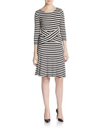 Tobi Pacific Striped Dress In Beige Ivory And Navy Lyst