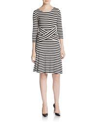 Saks Fifth Avenue Black Label Striped Three-Quarter Sleeve Dress - Lyst