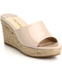 Prada Patent Leather Espadrille Wedge Mule Sandals - Lyst