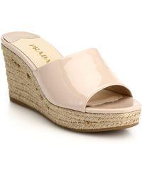 Prada Patent Leather Espadrille Wedge Mule Sandals - Lyst