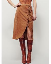 Free People | Womens It's A Wrap Suede Skirt | Lyst