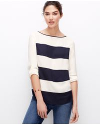 Ann Taylor Striped Crepe Top - Lyst